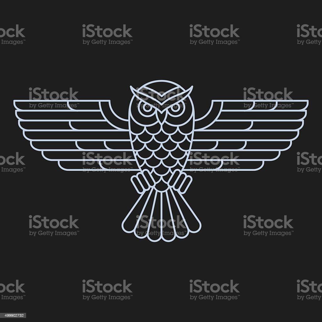 Búho icono de línea - ilustración de arte vectorial