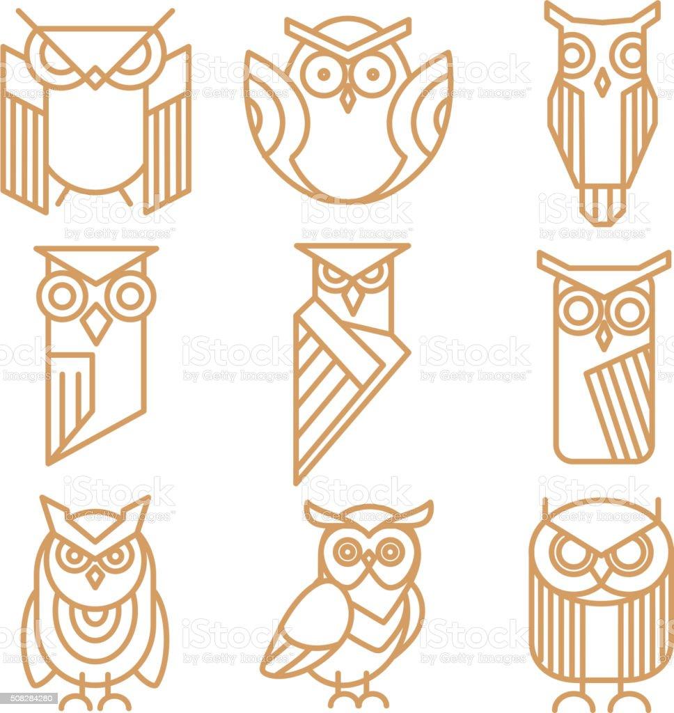Logotipos de búho línea, emblemas y etiquetas Vector de conjunto - ilustración de arte vectorial