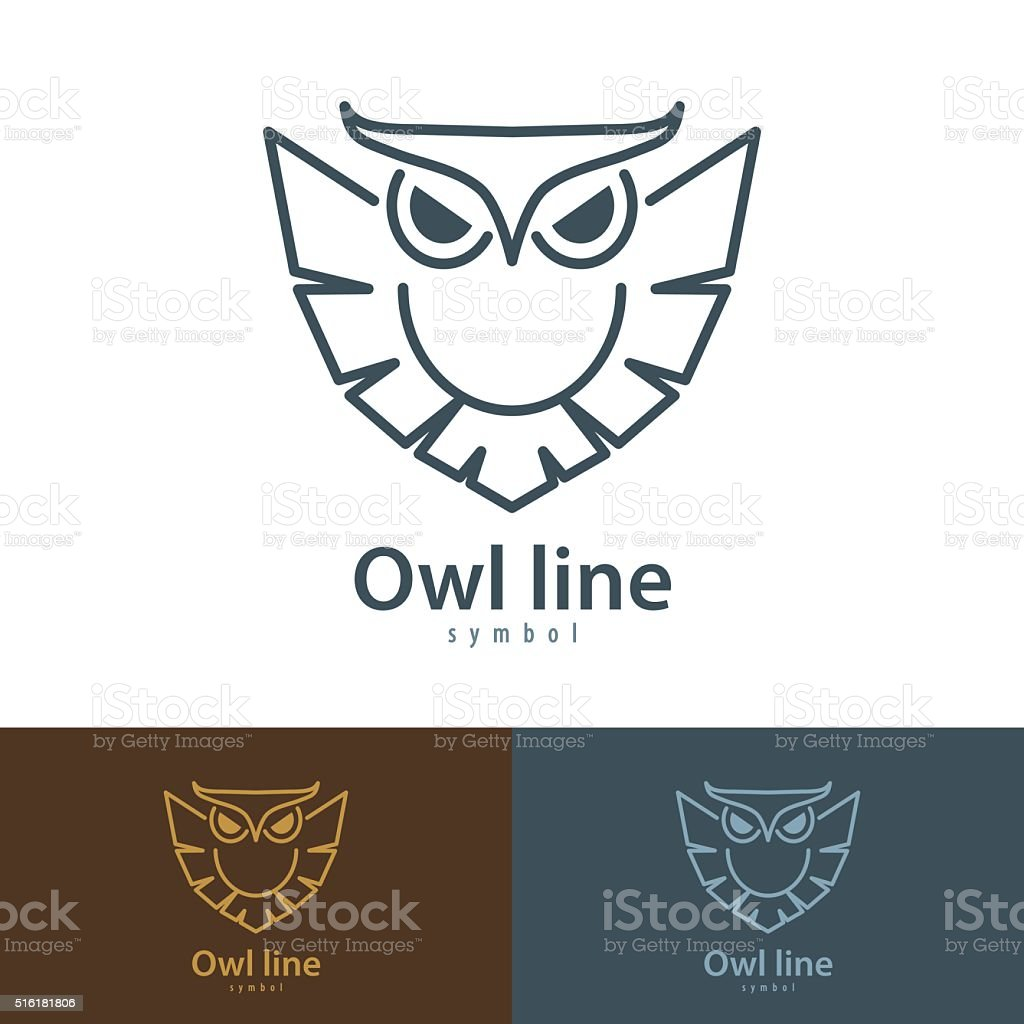 Owl line vector art illustration