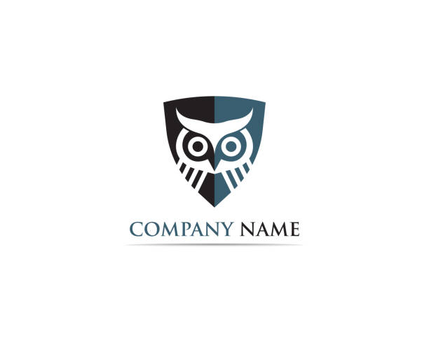 owl logo and symbol - sowa stock illustrations