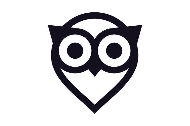 owl logo - vector illustration. - sowa stock illustrations