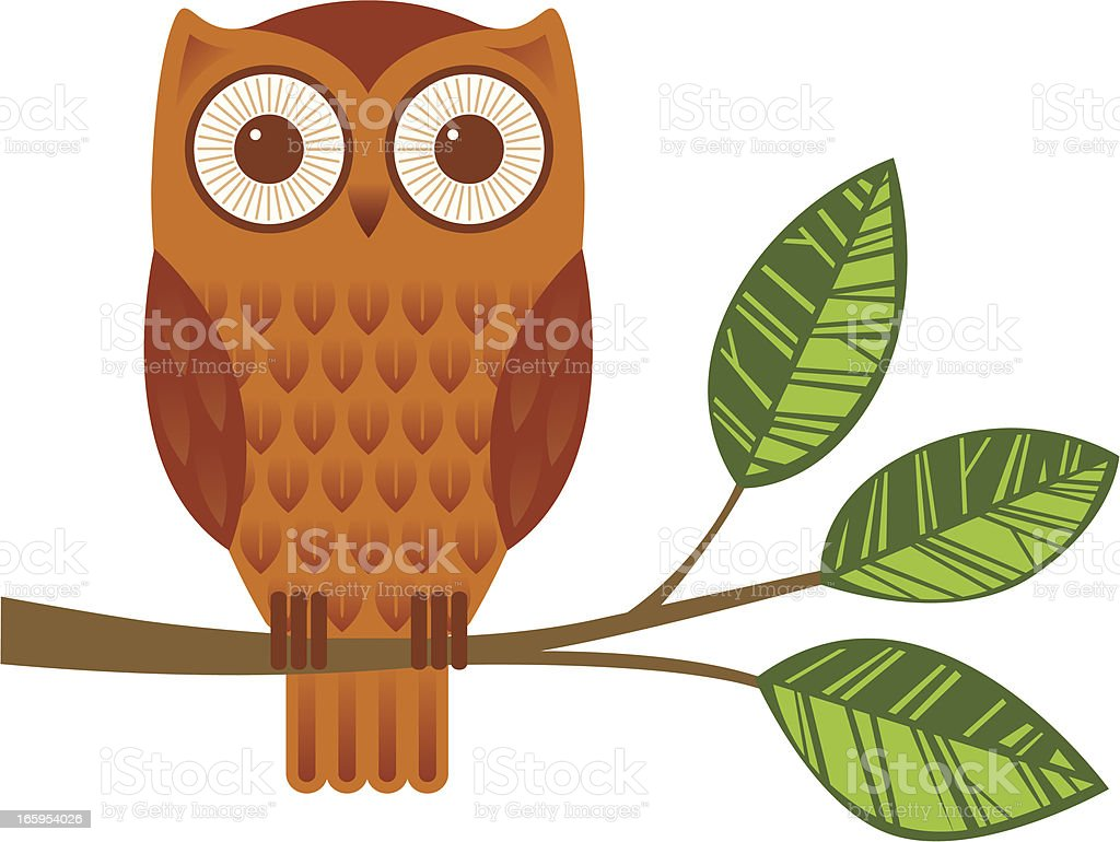 Owl on a branch vector art illustration