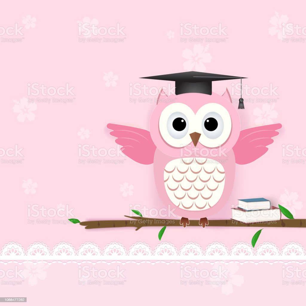 Owl on pink and flora for Greeting card, Baby shower card with paper art style illustration vector art illustration