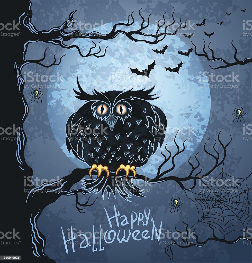 Owl on tree and bat-vampires flying in night sky vector art illustration