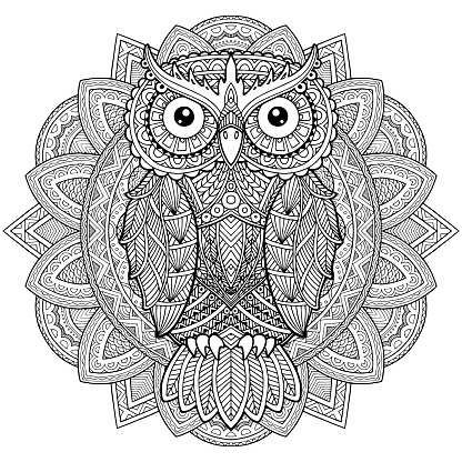 Owl or eagle-owl bird sketch vector isolated icon. Wild forest feathered predatory bird of prey sitting on branch. Wildlife fauna and zoology symbol for zoo nature adventure club. Ethnic doodle motifs