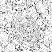 Owl painting for adult anti stress coloring page, colo