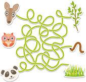 owl panda kangaroo labyrinth game for Preschool Children. Vector