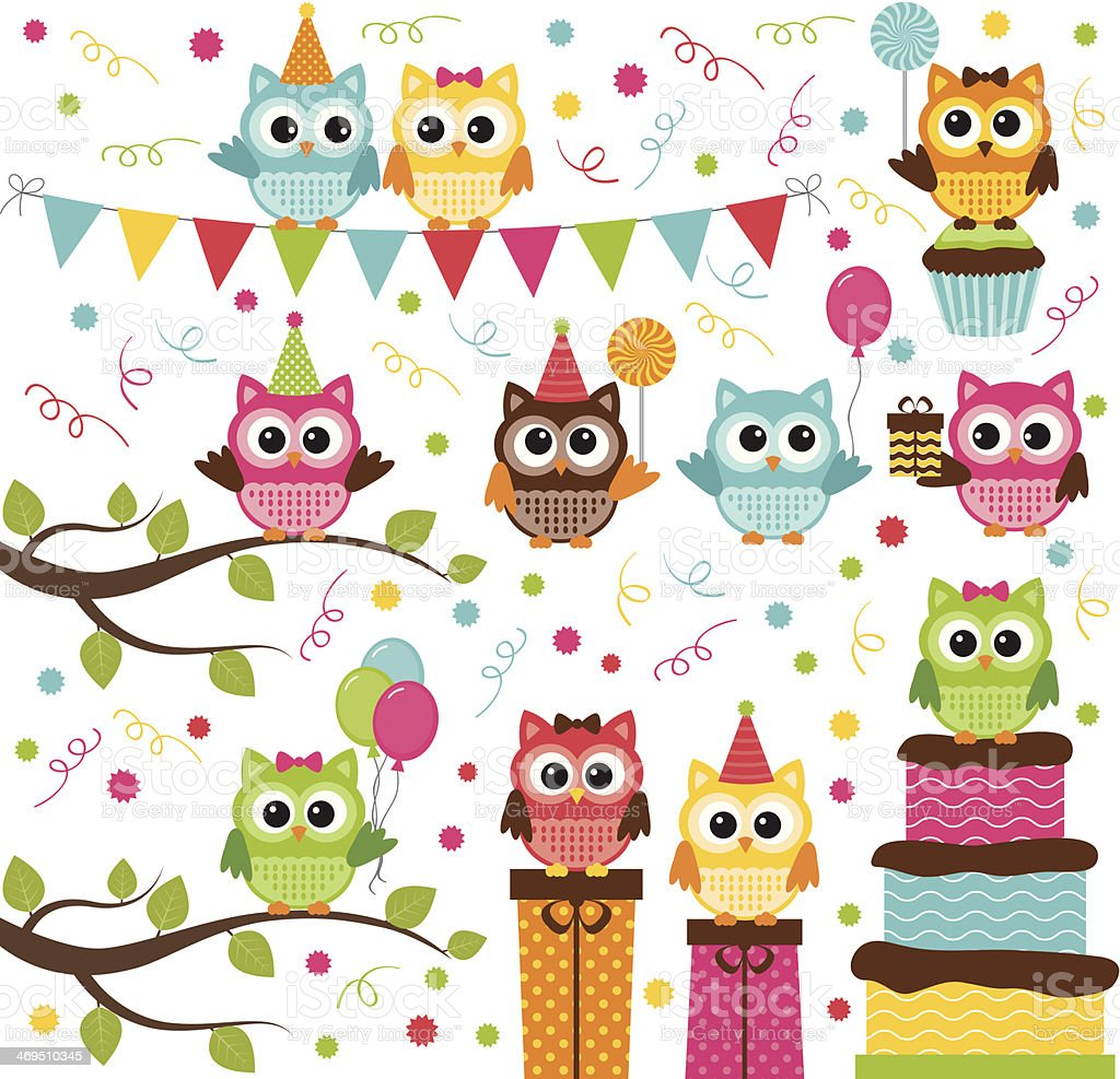 Owl Party Set vector art illustration