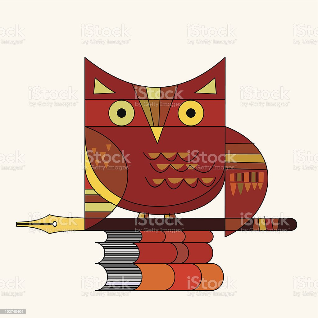 owl, pen and books royalty-free owl pen and books stock vector art & more images of animal body part
