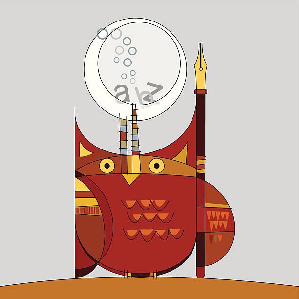 ilustraciones, imágenes clip art, dibujos animados e iconos de stock de búho, bolígrafo y luna - tintanegra00