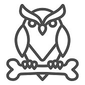 Owl perched on bone line icon, halloween concept, owl and bone sign on white background, scary bird icon in outline style for mobile concept and web design. Vector graphics
