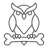 Owl perched on bone thin line icon, halloween concept, owl and bone sign on white background, scary bird icon in outline style for mobile concept and web design. Vector graphics