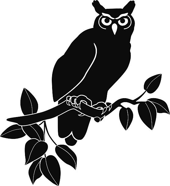 owl perched on branch in black and white - great horned owl stock illustrations, clip art, cartoons, & icons