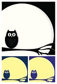 Owl perched on branch in the full moon. Black and white image with 2 other color options, purple and blue. Ideal for Halloween and with space for copy to be applied.