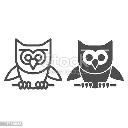 istock Owl perched on branch line and solid icon, halloween concept, owl and stick sign on white background, scary bird icon in outline style for mobile concept and web design. Vector graphics. 1287146668