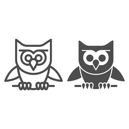 Owl perched on branch line and solid icon, halloween concept, owl and stick sign on white background, scary bird icon in outline style for mobile concept and web design. Vector graphics.