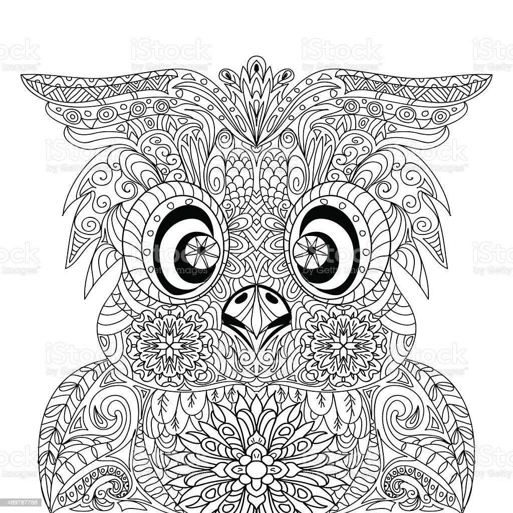 Buho Tatuaje Mandala ilustración de búho retrato mandala zentangle y más vectores