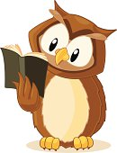 Fully editable vector illustration of a wise owl reading a book.