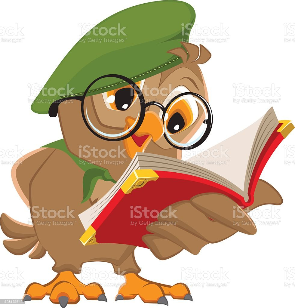 royalty free owl holding open book clip art vector images rh istockphoto com