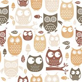 A repeatable pattern of cute retro owls. See below for an icon set version of this file.