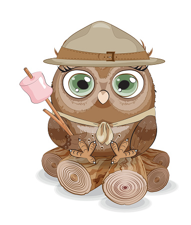 owl scout with marshmallow
