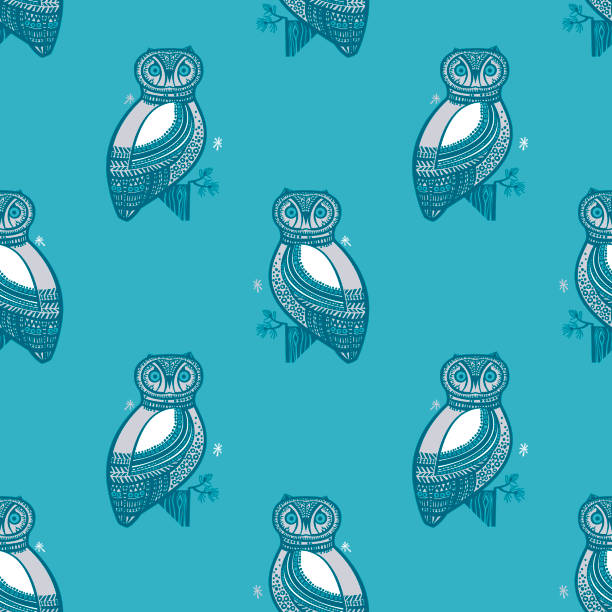 Owl Seamless Pattern vector art illustration