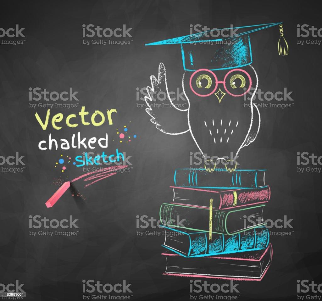 Búho sentado sobre libros. - ilustración de arte vectorial