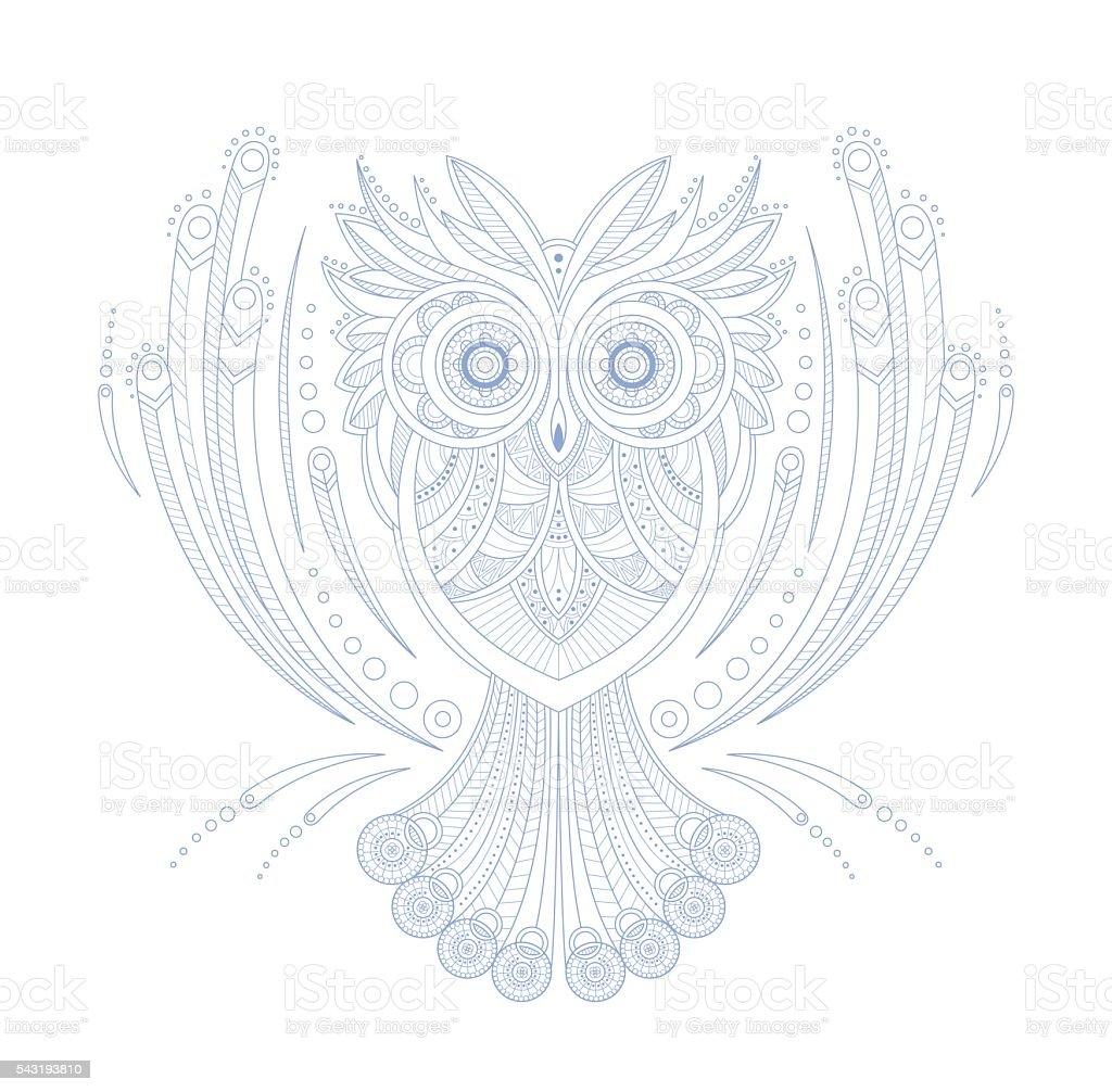 Chouette Dessin Stylisé chouette griffonnage stylisés zen page de livre de coloriage