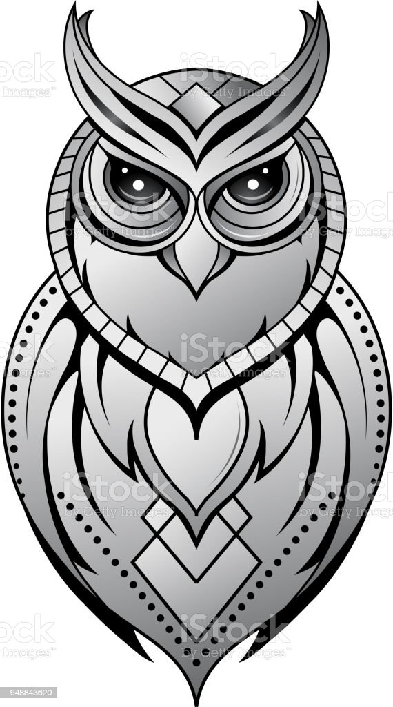 Royalty Free Tribal Owl Tattoo Designs Drawing Clip Art Vector
