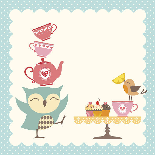eule tee time - tassenkuchen stock-grafiken, -clipart, -cartoons und -symbole