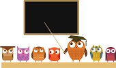 A teacher and his class, in owl form. The teacher and blackboard are grouped on one layer, the pupils are on another layer, each owl individually grouped.