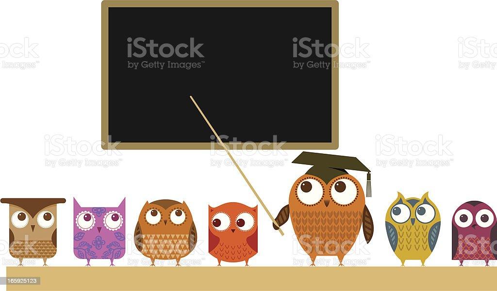 Owl teacher and class vector art illustration