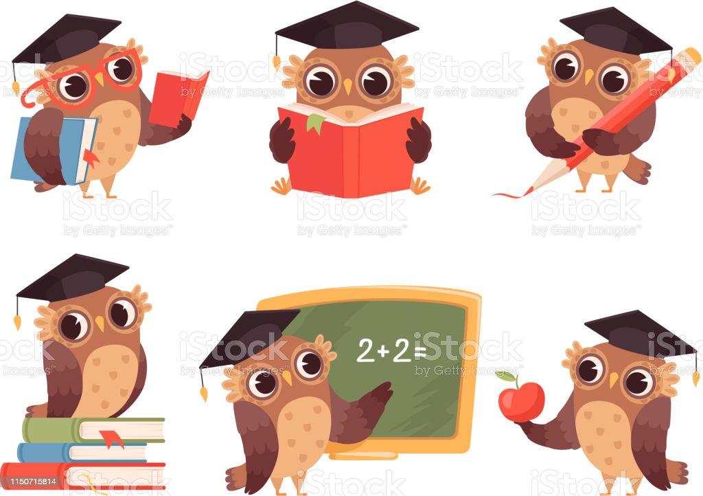 Owl teacher. Cartoon bird characters with back to school items cute...