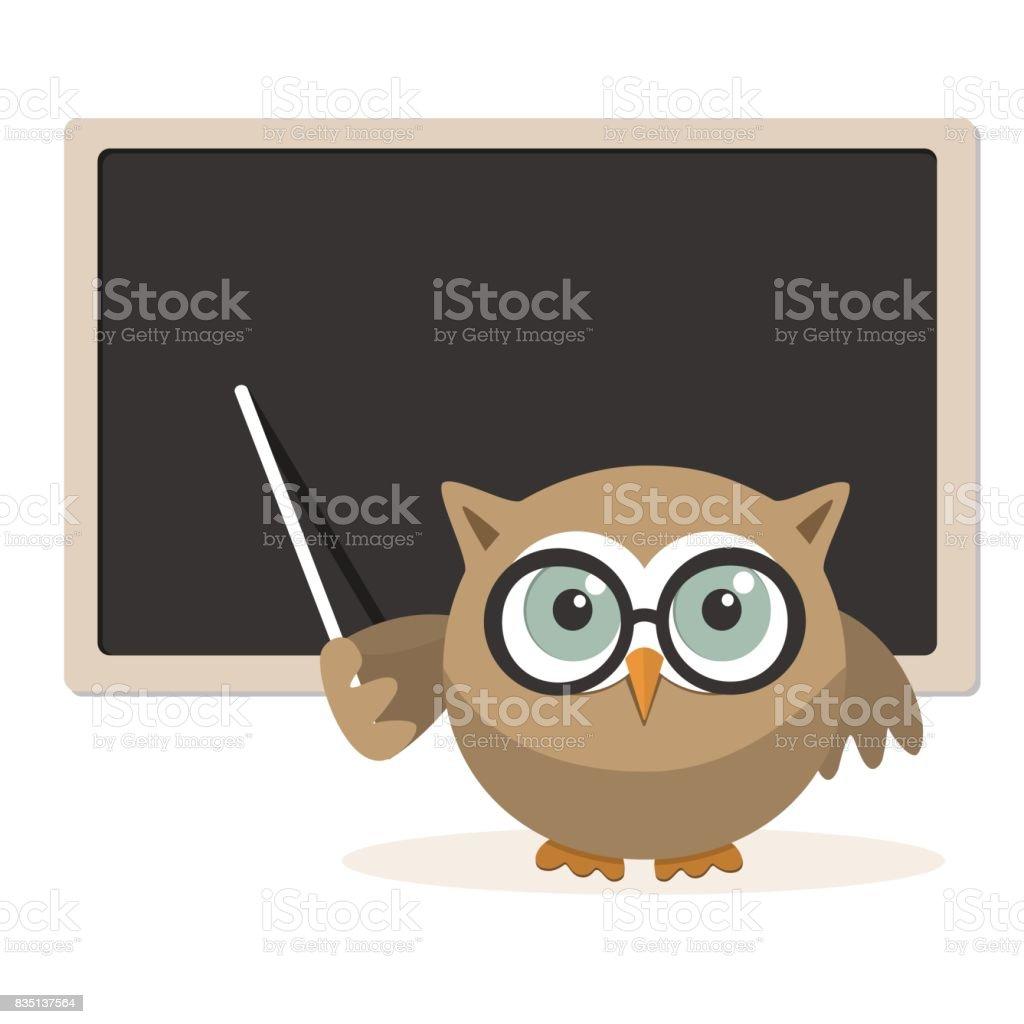 Owl teacher explaining at school vector art illustration