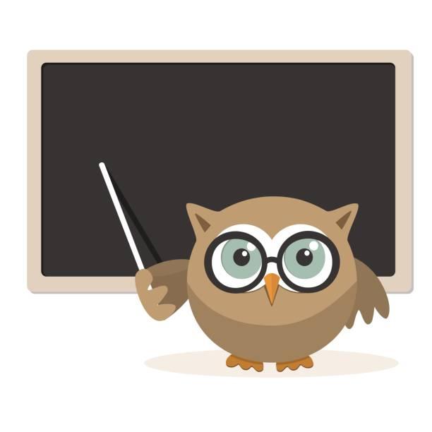 illustrations, cliparts, dessins animés et icônes de maître hibou, expliquant à l'école - professeur d'université