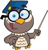 Cartoon Character Owl Teacher Holding A Pointer Stick