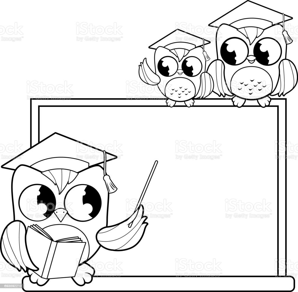 Owl Teacher Pointing At Chalkboard And Students Classroom Black White Coloring Book Page