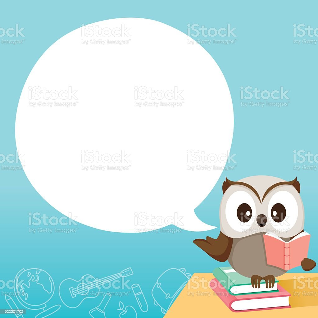 Owl Teaching On Table With Speech Bubble Stock Vector Art More