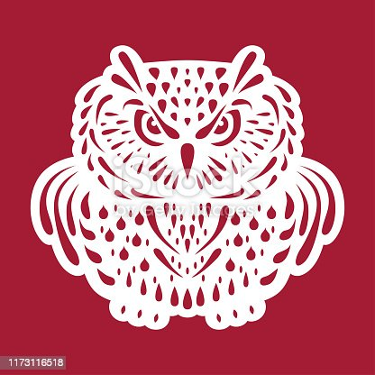 Owl. Templates for laser cutting, plotter cutting, wood carving or printing. Christmas decoration. Cutout openwork toy. Vector monochrome illustration.