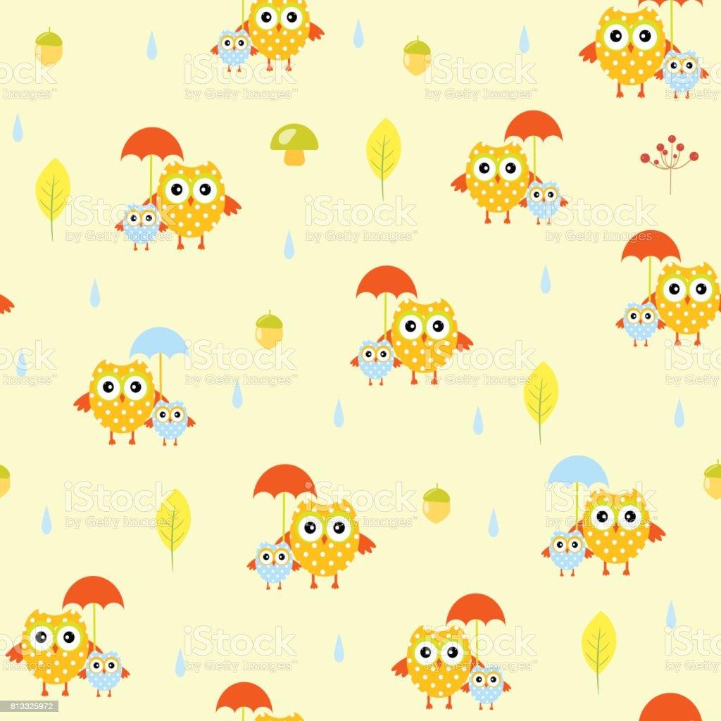 Owl umbrella autumn seamless vector pattern vector art illustration