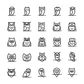 istock Owl vector icons collection in line style. 1127142195