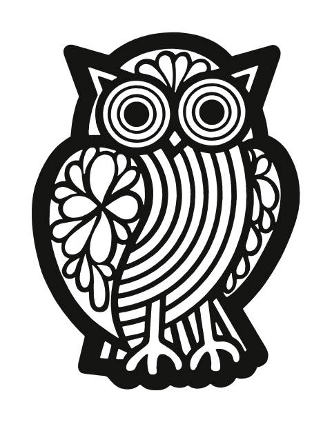 owl - black and white owl stock illustrations, clip art, cartoons, & icons