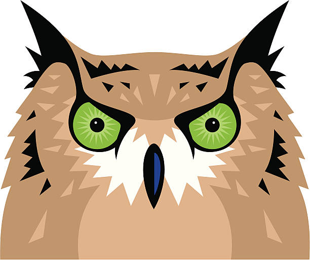 owl - great horned owl stock illustrations, clip art, cartoons, & icons