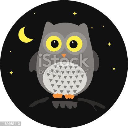 Owl in the night, little vector bird, Moon/stars and the background are on separate layers, so that background can be easily turned off.