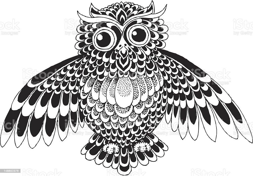 Owl Vector Vignette Stock Vector Art Amp More Images Of
