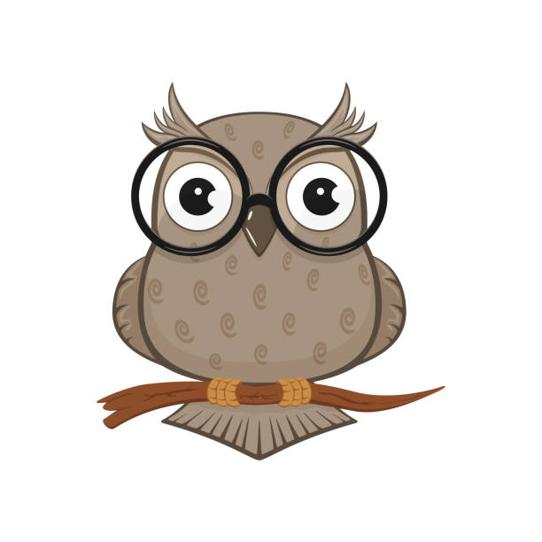 owl with glasses - sowa stock illustrations