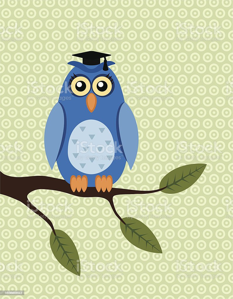 Owl with mortar board hat sitting on a branch royalty-free owl with mortar board hat sitting on a branch stock vector art & more images of animal