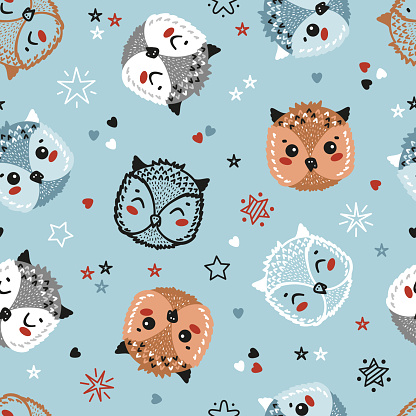Owlets. Cute Owls, Stars and hearts Seamless Pattern. Childish Blue Background with Little owl chicks. Vector Bird Heads Drawing for Tee Print for Kids