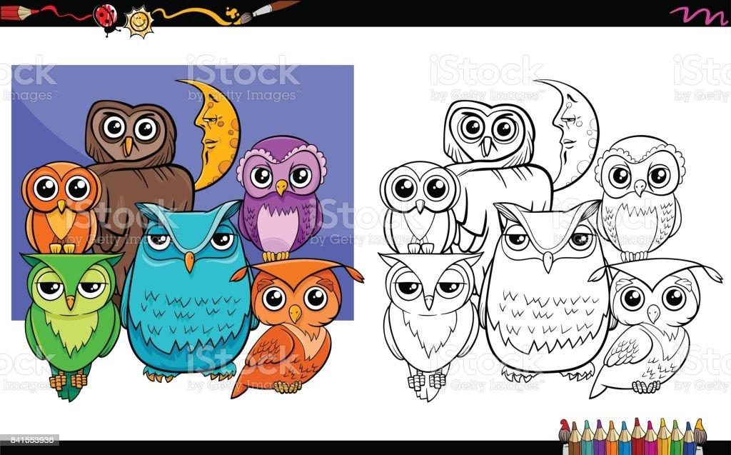 Ilustración De Buhos De Aves Grupo De Personajes Para Colorear Libro