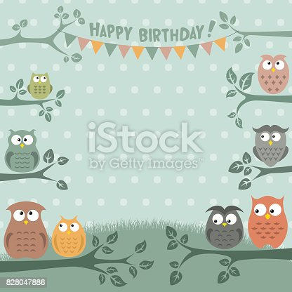 istock Owls Birthday Party Invitation 828047886